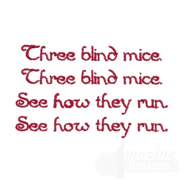 Three Blind Mice Text Embroidery Design