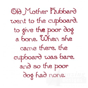Old Mother Hubbard Text Embroidery Design