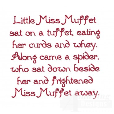 Little Miss Muffet Text Embroidery Design