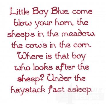 Little Boy Blue Text Embroidery Design
