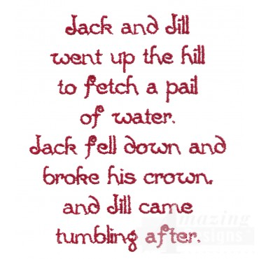 Jack And Jill Text Embroidery Design