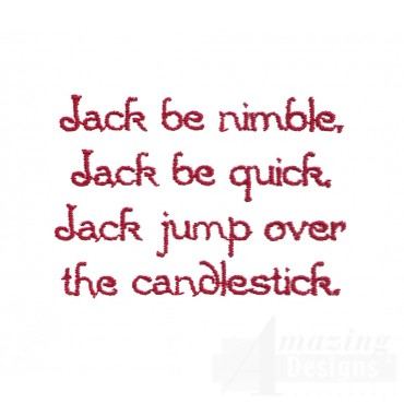 Jack Be Nimble Text Embroidery Design