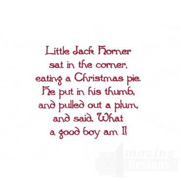 Little Jack Horner Text Embroidery Design