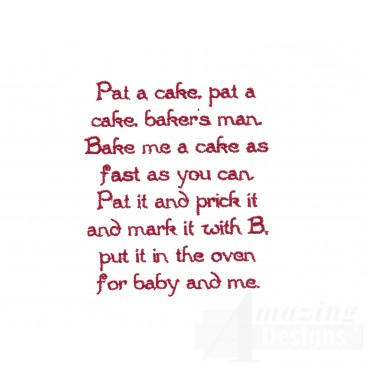 Pat A Cake Text Embroidery Design