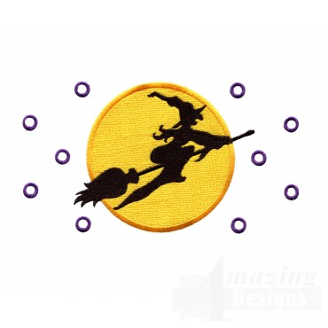 Witch In The Moon Embroidery Design