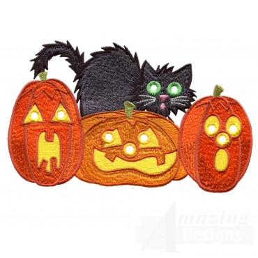 Pumpkins And Cat Embroidery Design