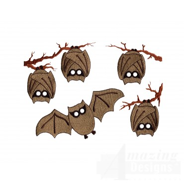 Spooky Bats Embroidery Design