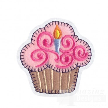 Cupcake Brooch Embroidery Design