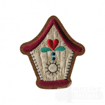 Birdhouse Brooch Embroidery Design
