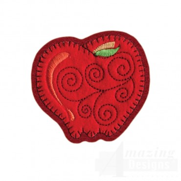 Apple Brooch Embroidery Design