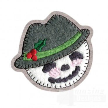 Snowman Brooch Embroidery Design