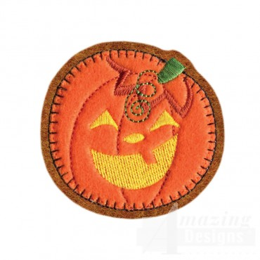 Pumpkin Brooch Embroidery Design