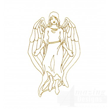 Linework Angel Embroidery Design