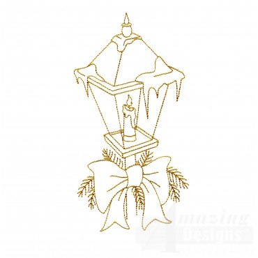 Linework Christmas Lightpost Embroidery Design