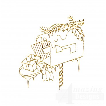 Linework Christmas Mailbox Embroidery Design
