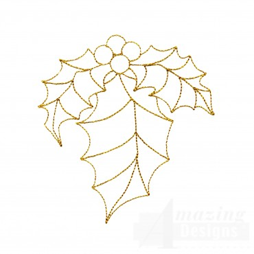 Linework Holly Embroidery Design