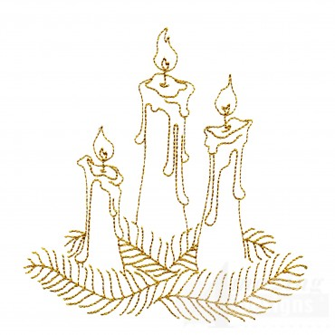 Linework Candles Embroidery Design
