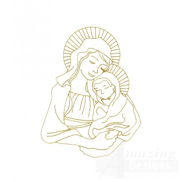 Linework Mary And Jesus Embroidery Design