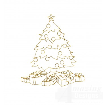 Linework Christmas Tree Presents Embroidery Design