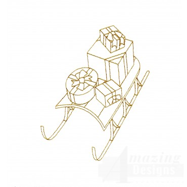 Linework Sled And Presents Embroidery Design