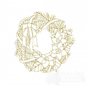 Linework Christmas Wreath Embroidery Design