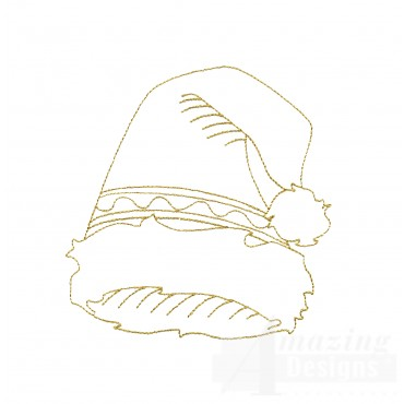 Linework Santa Hat Embroidery Design