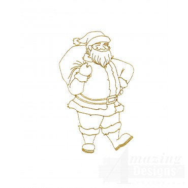 Linework Full Body Santa Embroidery Design