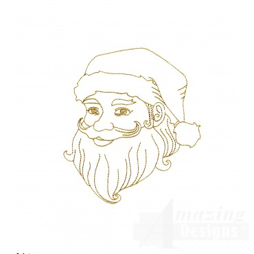 Linework Santa Face Embroidery Design