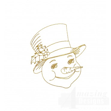 Linework Snowman Face Embroidery Design