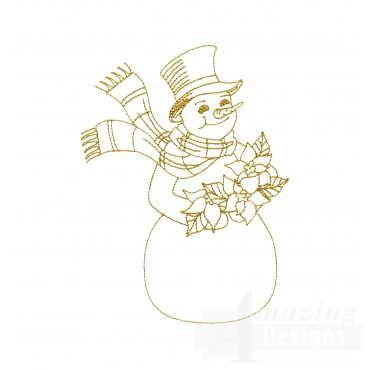Linework Snowman Embroidery Design
