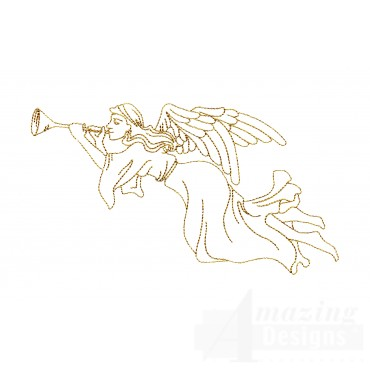 Linework Angel With Trumpet Embroidery Design