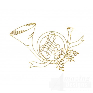 Linework Christmas Horn Embroidery Design