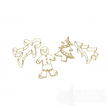 Linework Christmas Cookies Embroidery Design
