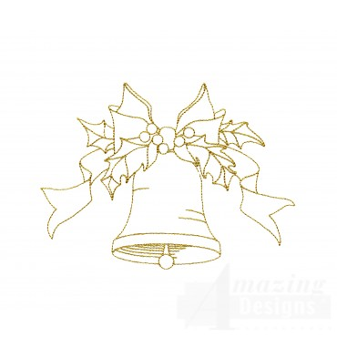 Linework Christmas Bell Embroidery Design