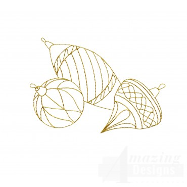 Linework Christmas Ornaments Embroidery Design