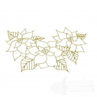 Linework Christmas Poinsettias Embroidery Design