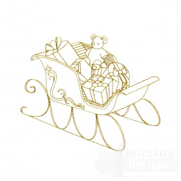Linework Christmas Sleigh Embroidery Design