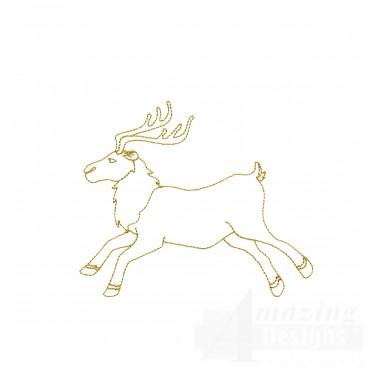 Linework Reindeer Embroidery Design