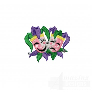 Mardi Gras Drama Jokers Embroidery Design