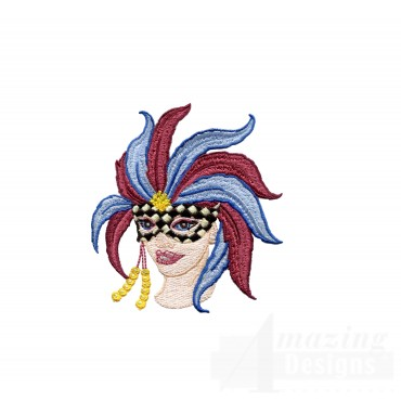 Ornate Mardi Gras Mask Embroidery Design