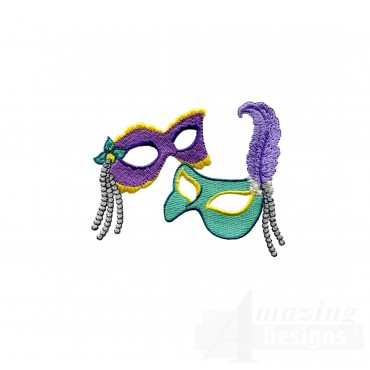 Mardi Gras Masks Embroidery Design