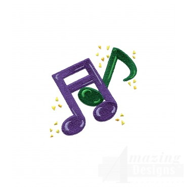 Mardi Gras Music Notes Embroidery Design