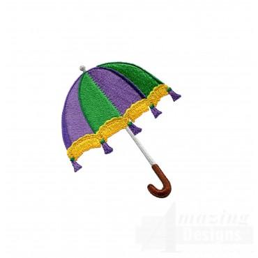 Mardi Gras Umbrella Embroidery Design