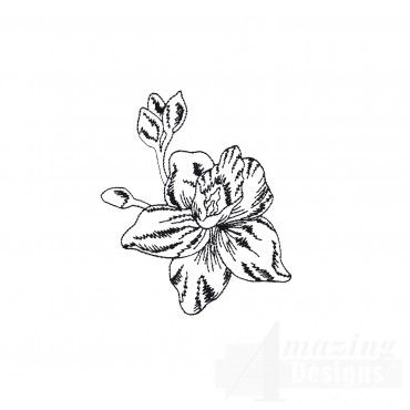Bot412 Tropical Floral Sketch Embroidery Design