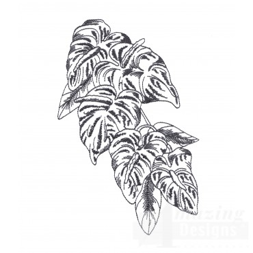 Bot421 Tropical Floral Sketch Embroidery Design