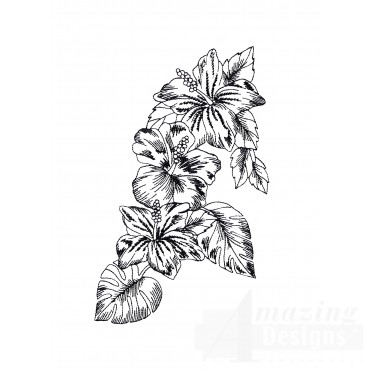 Bot425 Tropical Floral Sketch Embroidery Design