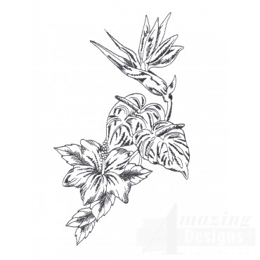 Bot430 Tropical Floral Sketch Embroidery Design