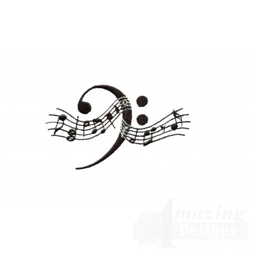 Stylish Bass Clef Embroidery Design
