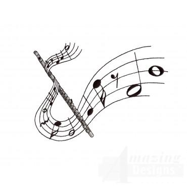 Flute Embroidery Design