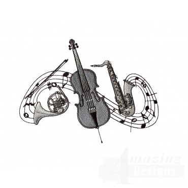 French Horn Cello And Saxophone Embroidery Design